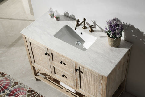 "48"" SOLID WOOD SINK VANITY WITH MARBLE TOP-NO FAUCET WH5148"