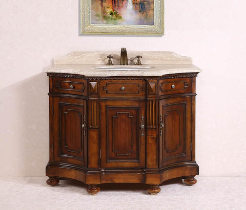 "Image of 48"" SOLID WOOD SINK VANITY WITH TRAVERTINE-NO FAUCET AND BACKSPLASH WH2048"