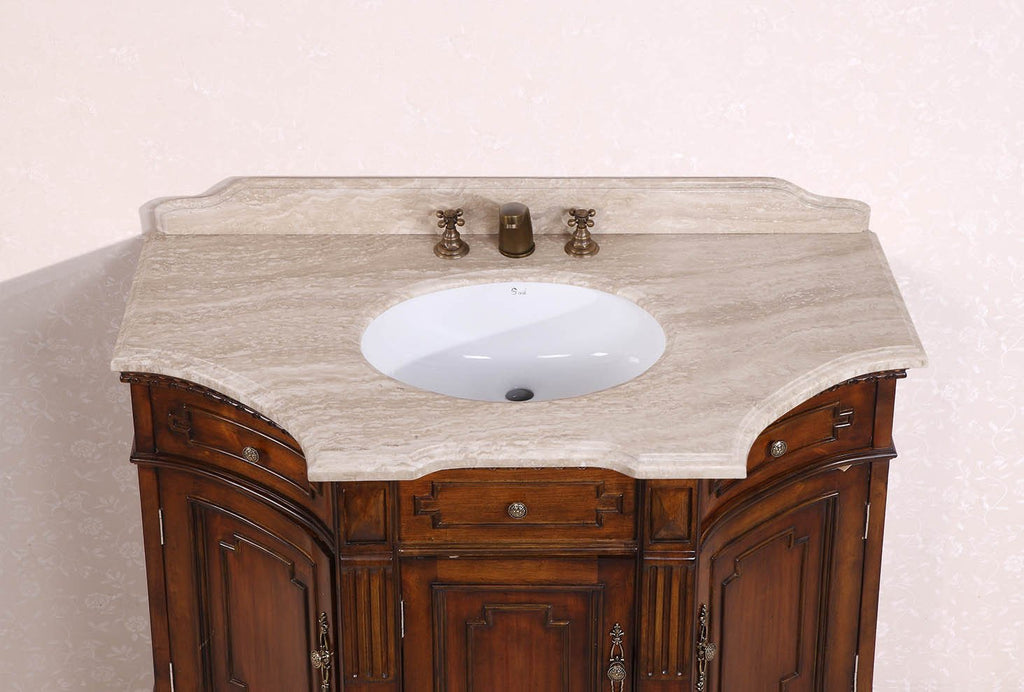 "48"" SOLID WOOD SINK VANITY WITH TRAVERTINE-NO FAUCET AND BACKSPLASH WH2048"