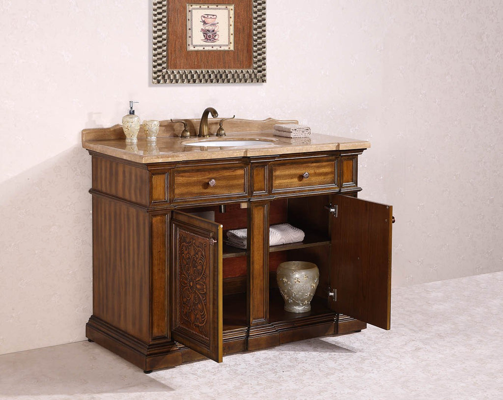 "48"" SOLID WOOD SINK VANITY WITH TRAVERTINE-NO FAUCET AND BACKSPLASH WH2448"