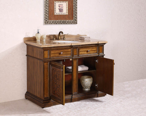 "Image of 48"" SOLID WOOD SINK VANITY WITH TRAVERTINE-NO FAUCET AND BACKSPLASH WH2448"