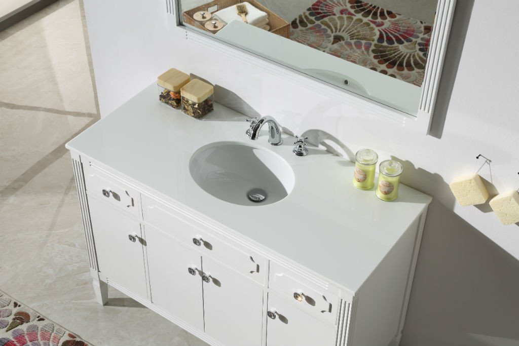 "48"" WOOD SINK VANITY WITH ARTIFICIAL STONE TOP-NO FAUCET WH6148"