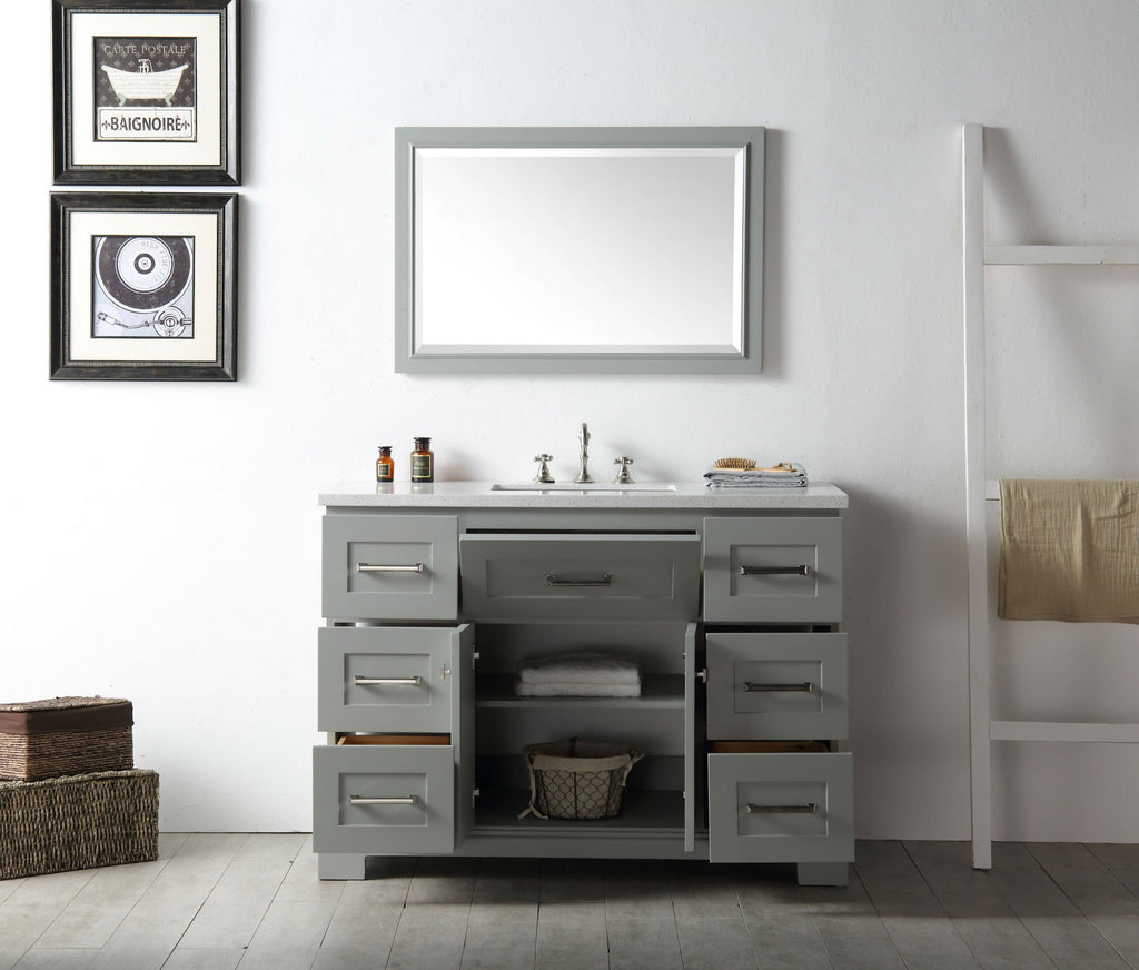 "48"" WOOD SINK VANITY WITH QUARTZ OP-NO FAUCET IN COOL GREY WH7648-CG"