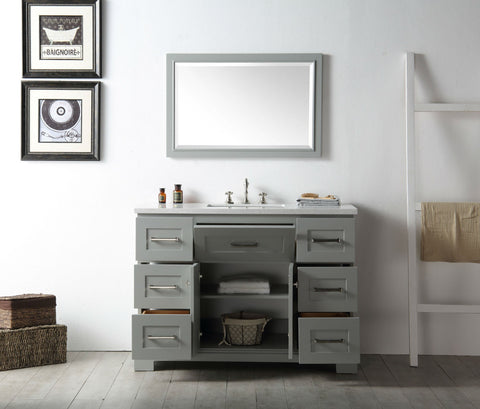 "Image of 48"" WOOD SINK VANITY WITH QUARTZ OP-NO FAUCET IN COOL GREY WH7648-CG"