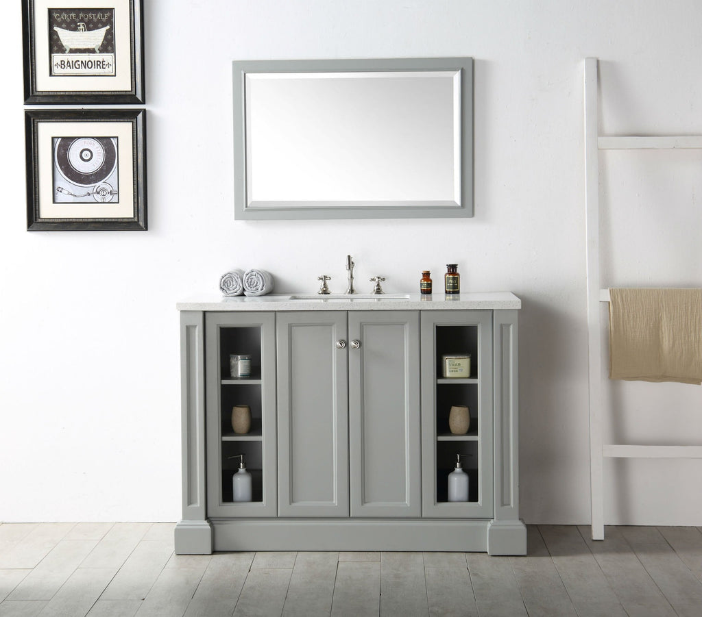 "48"" WOOD SINK VANITY WITH QUARTZ TOP-NO FAUCET IN COOL GREY WH7248-CG"