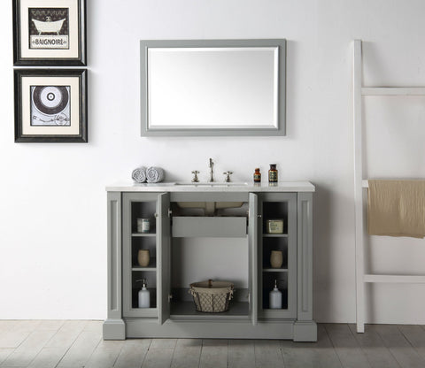 "Image of 48"" WOOD SINK VANITY WITH QUARTZ TOP-NO FAUCET IN COOL GREY WH7248-CG"