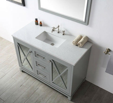"Image of 48"" WOOD SINK VANITY WITH QUARTZ TOP-NO FAUCET IN COOL GREY WH7448-CG"