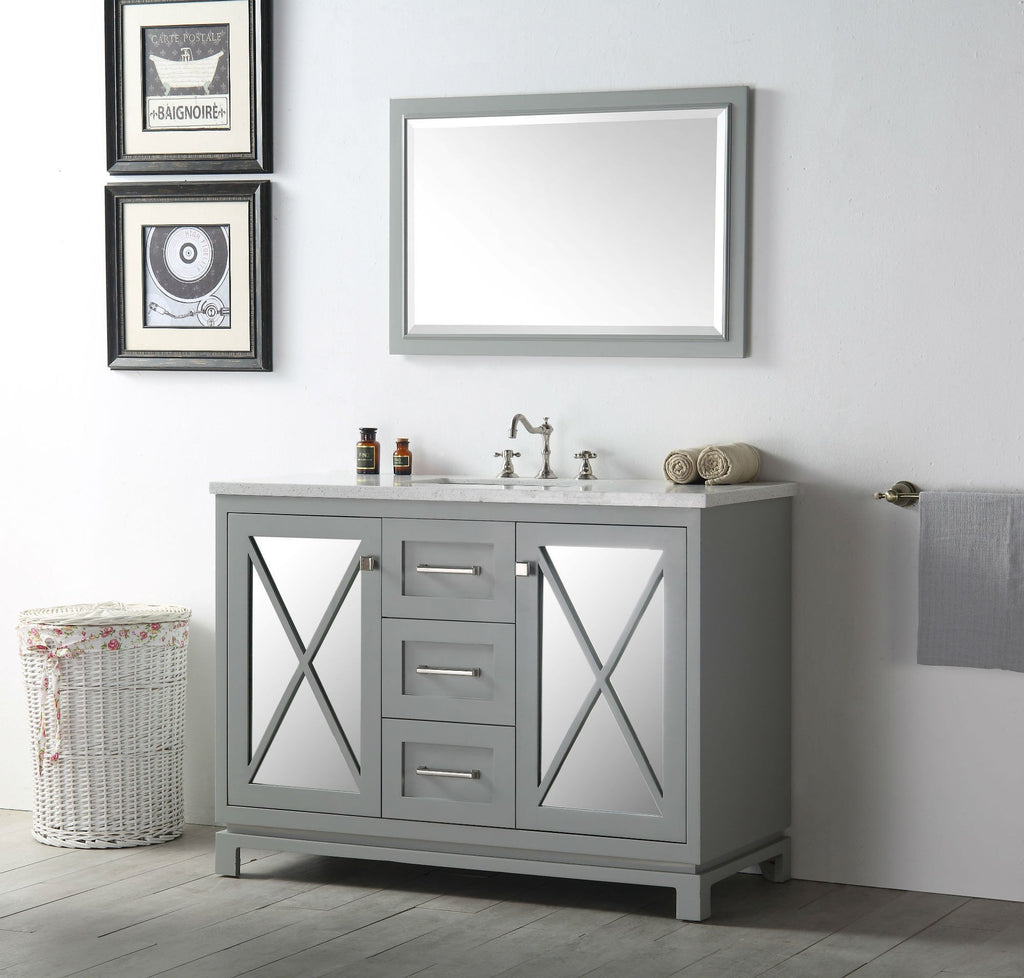 "48"" WOOD SINK VANITY WITH QUARTZ TOP-NO FAUCET IN COOL GREY WH7448-CG"