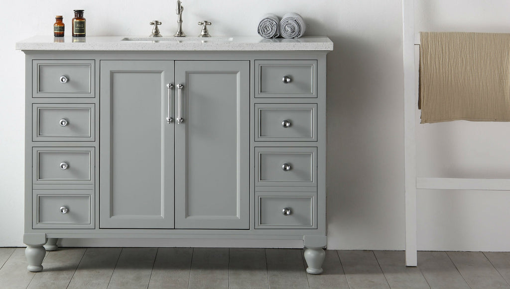 "48"" WOOD SINK VANITY WITH QUARTZ TOP-NO FAUCET IN COOL GREY WH7548-CG"