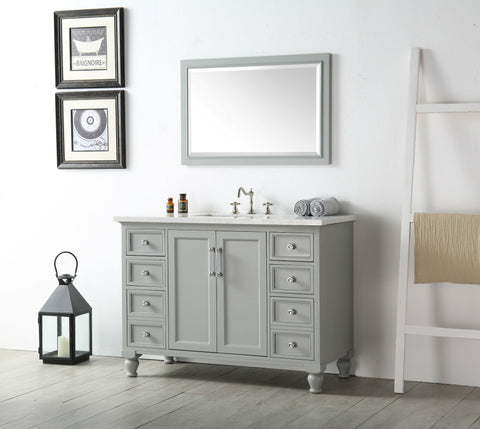 "Image of 48"" WOOD SINK VANITY WITH QUARTZ TOP-NO FAUCET IN COOL GREY WH7548-CG"