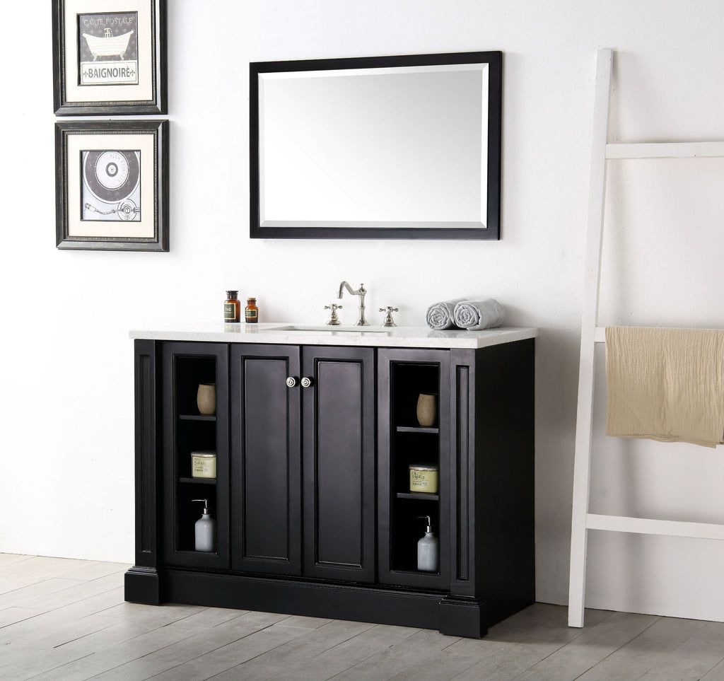 "48"" WOOD SINK VANITY WITH QUARTZ TOP-NO FAUCET IN ESPRESSO WH7248-E"