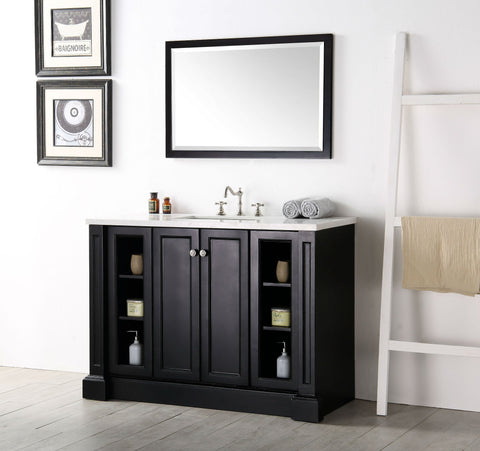 "Image of 48"" WOOD SINK VANITY WITH QUARTZ TOP-NO FAUCET IN ESPRESSO WH7248-E"