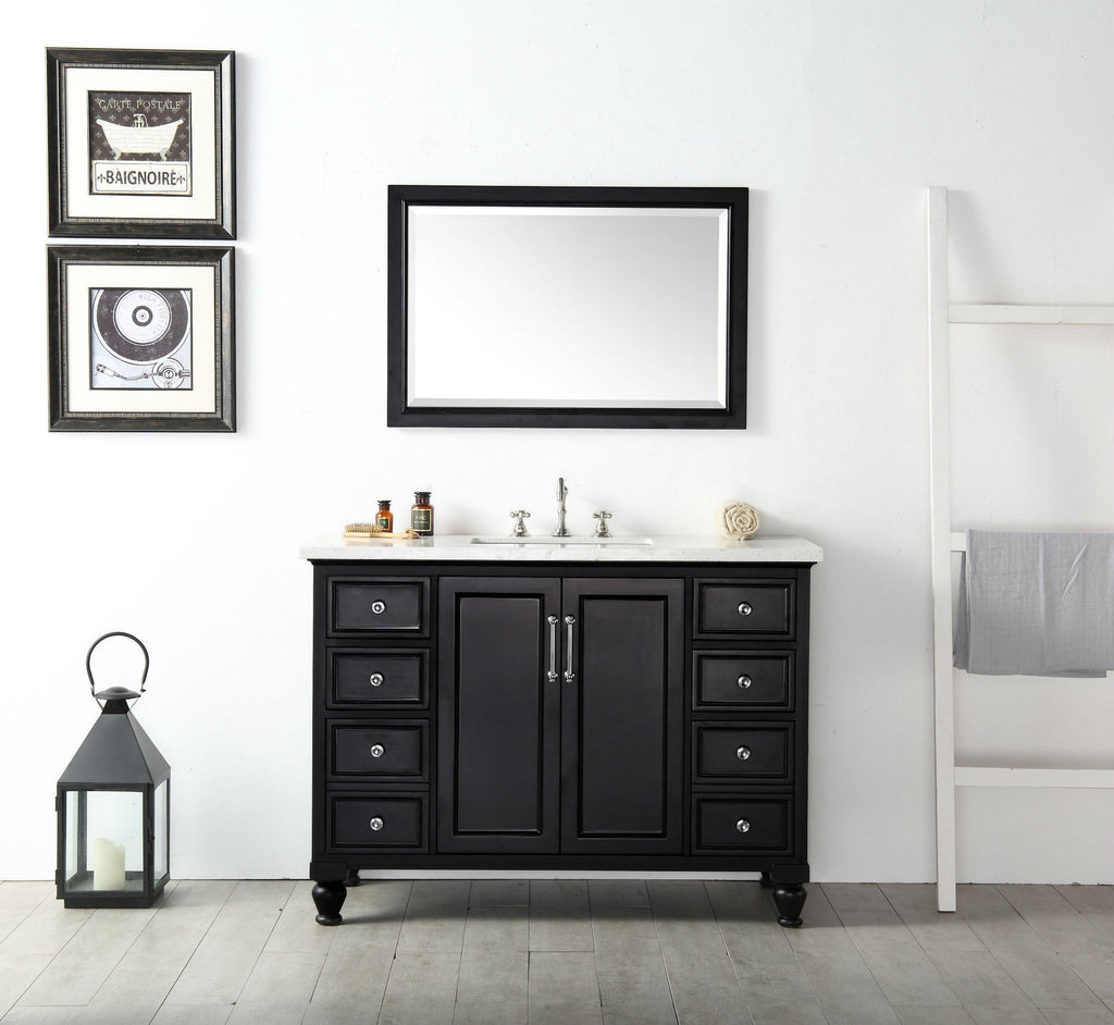 "48"" WOOD SINK VANITY WITH QUARTZ TOP-NO FAUCET IN ESPRESSO WH7548-E"
