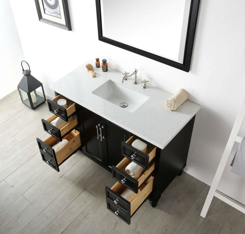 "Image of 48"" WOOD SINK VANITY WITH QUARTZ TOP-NO FAUCET IN ESPRESSO WH7548-E"