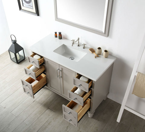 "Image of 48"" WOOD SINK VANITY WITH QUARTZ TOP-NO FAUCET IN WARM GREY WH7548-WG"