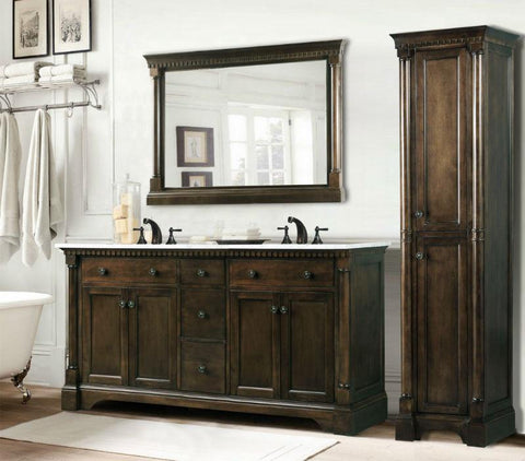 "Image of 60"" ANTIQUE COFFEE SINK VANITY WITH CARRARA WHITE TOP AND MATCHING BACKSPLASH WITHOUT FAUCET WLF6036-60"""