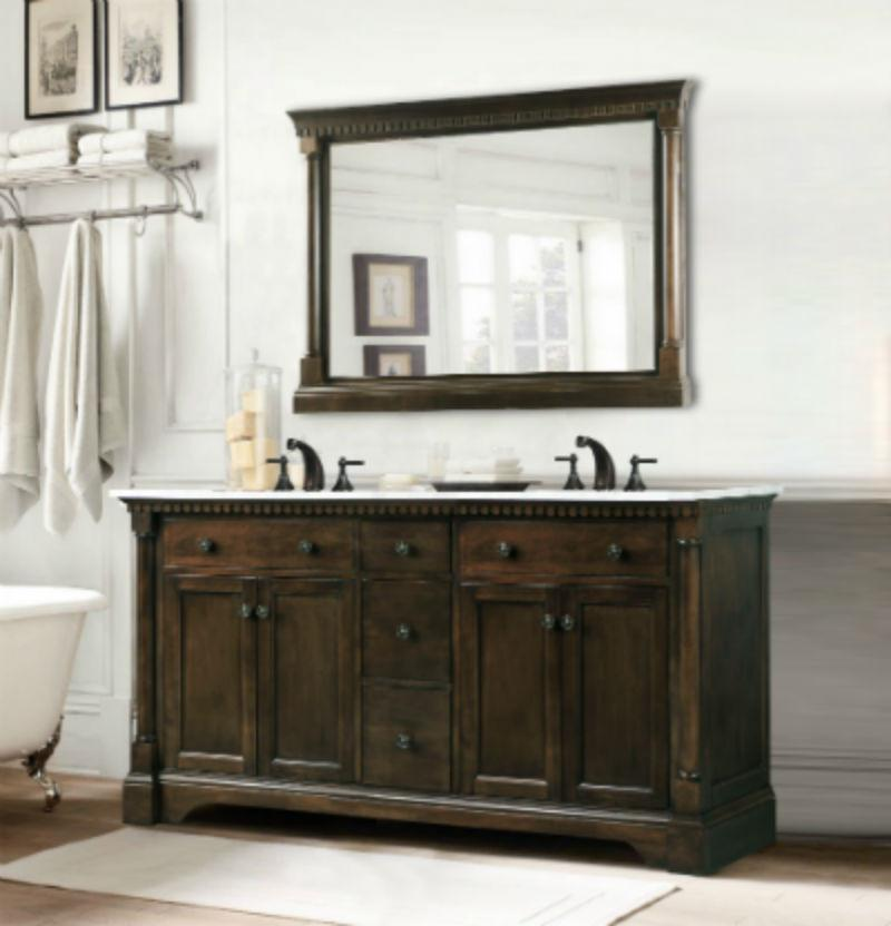 "60"" ANTIQUE COFFEE SINK VANITY WITH CARRARA WHITE TOP AND MATCHING BACKSPLASH WITHOUT FAUCET WLF6036-60"""