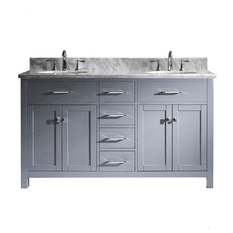 "Image of 60"" Double Bathroom Vanity MD-2060-WMRO-GR-NM"