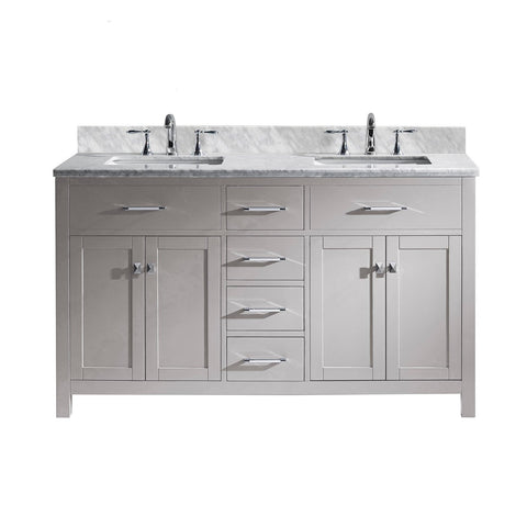 "Image of 60"" Double Bathroom Vanity MD-2060-WMSQ-CG-NM"