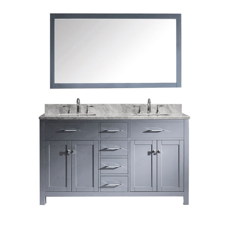 "60"" Double Bathroom Vanity MD-2060-WMSQ-GR"