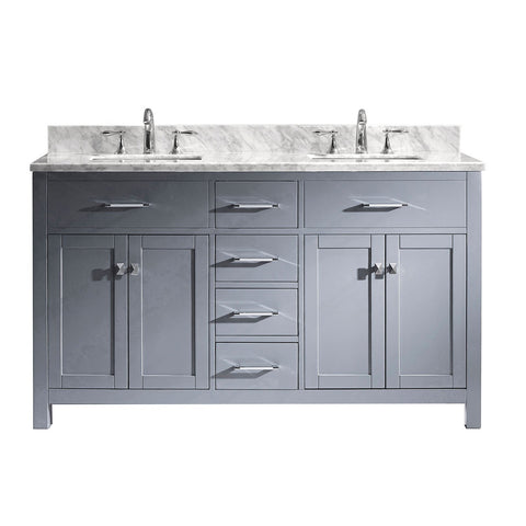 "Image of 60"" Double Bathroom Vanity MD-2060-WMSQ-GR-NM"