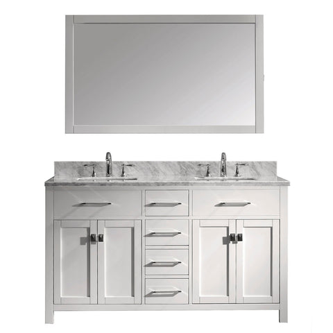 "Image of 60"" Double Bathroom Vanity MD-2060-WMSQ-WH"