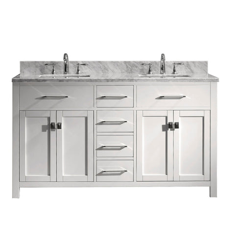 "60"" Double Bathroom Vanity MD-2060-WMSQ-WH-NM"