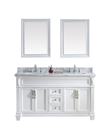 "60"" Double Bathroom Vanity MD-2660-WMSQ-WH"