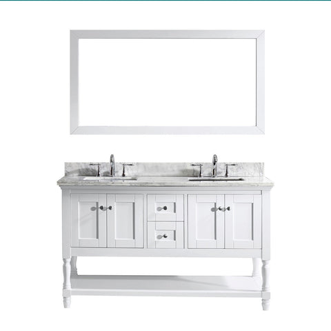 "Image of 60"" Double Bathroom Vanity MD-3160-WMSQ-WH"
