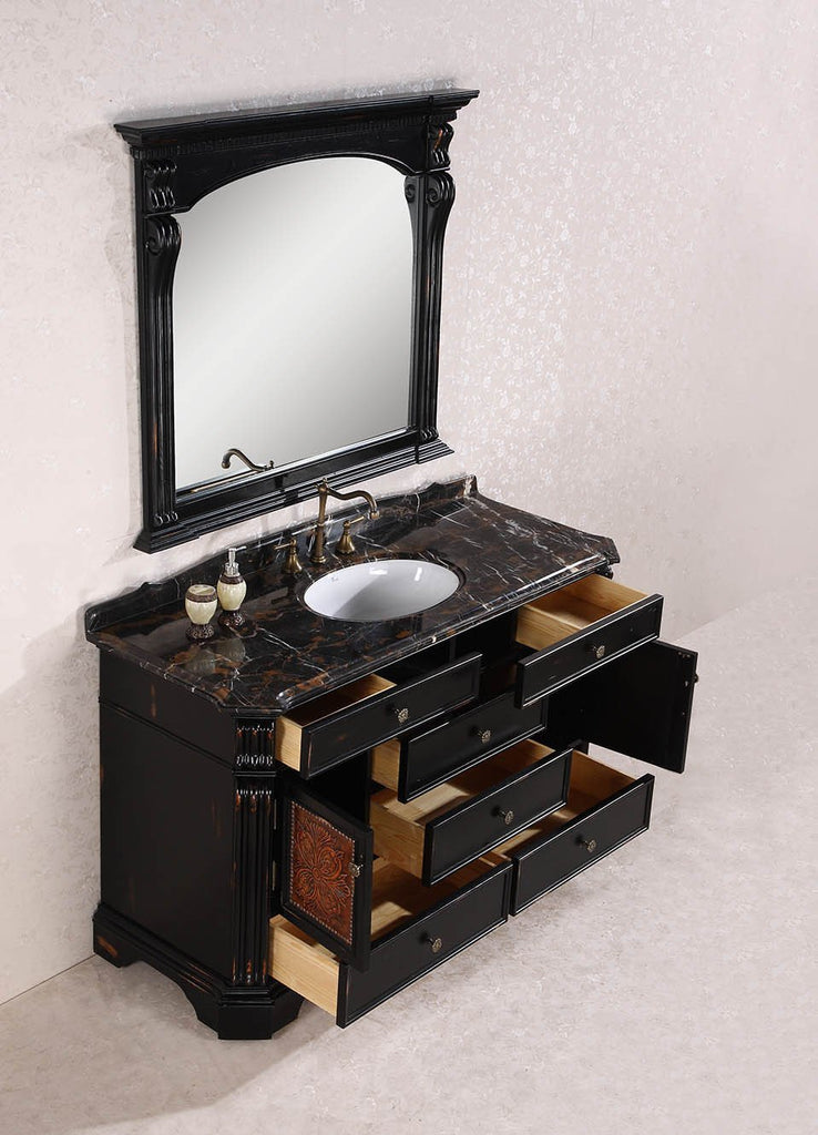 "60"" SOLID WOOD SINK VANITY WITH GRANITE TOP-NO FAUCET AND BACKSPLASH WH3860"
