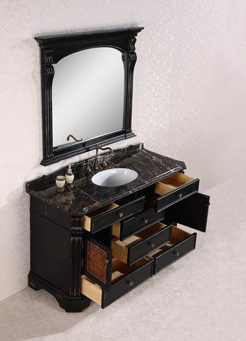 "Image of 60"" SOLID WOOD SINK VANITY WITH GRANITE TOP-NO FAUCET AND BACKSPLASH WH3860"