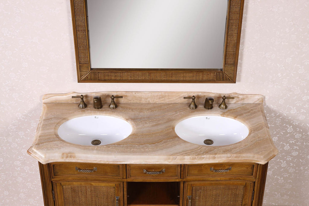 "60"" SOLID WOOD SINK VANITY WITH MARBLE-NO FAUCET AND BACKSPLASH WH3660"