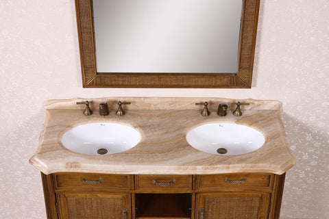 "Image of 60"" SOLID WOOD SINK VANITY WITH MARBLE-NO FAUCET AND BACKSPLASH WH3660"