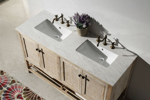 "60"" SOLID WOOD SINK VANITY WITH MARBLE TOP-NO FAUCET WH5160"