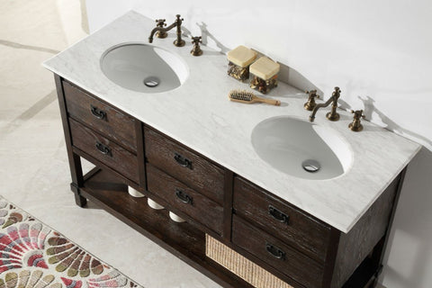 "60"" WOOD SINK VANITY WITH MARBLE TOP-NO FAUCET WH5260"