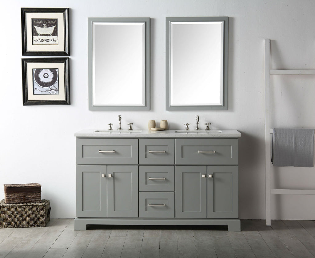 "60"" WOOD SINK VANITY WITH QUARTZ OP-NO FAUCET IN COOL GREY WH7660-CG"