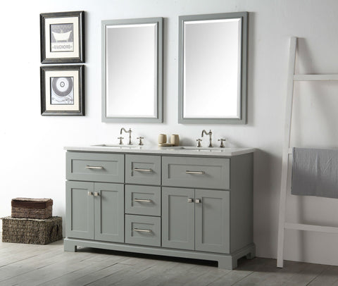 "Image of 60"" WOOD SINK VANITY WITH QUARTZ OP-NO FAUCET IN COOL GREY WH7660-CG"