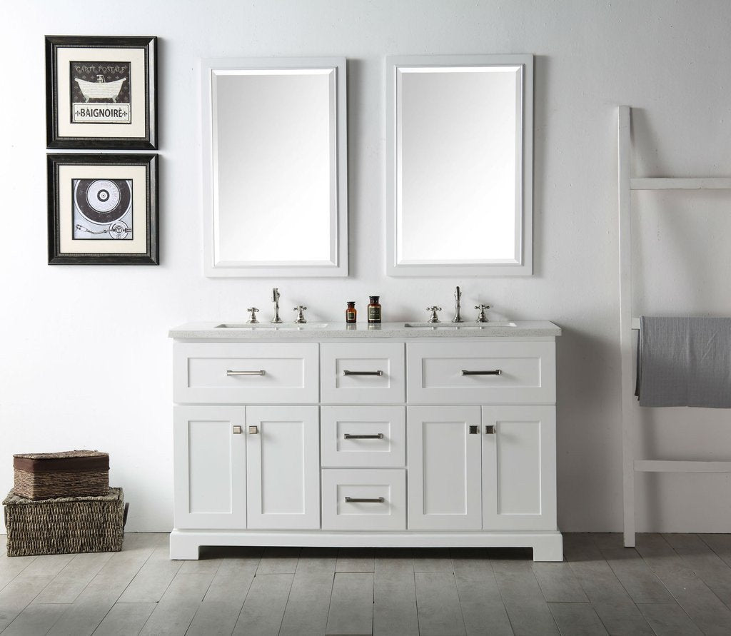 "60"" WOOD SINK VANITY WITH QUARTZ OP-NO FAUCET IN WHITE WH7660-W"