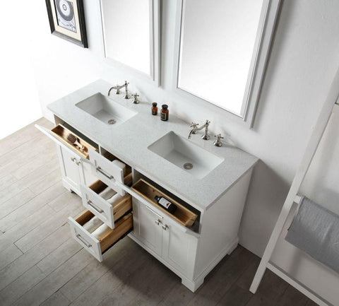 "Image of 60"" WOOD SINK VANITY WITH QUARTZ OP-NO FAUCET IN WHITE WH7660-W"