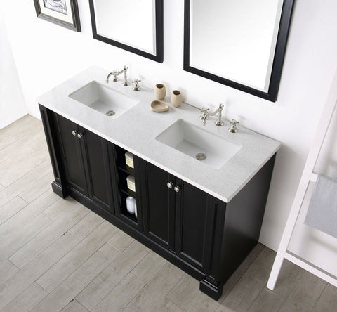 "Image of 60"" WOOD SINK VANITY WITH QUARTZ TOP-NO FAUCET IN ESPRESSO WH7360-E"