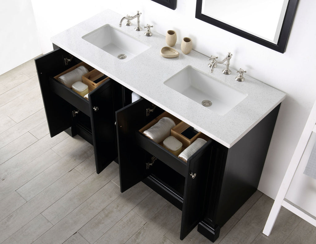 "60"" WOOD SINK VANITY WITH QUARTZ TOP-NO FAUCET IN ESPRESSO WH7360-E"