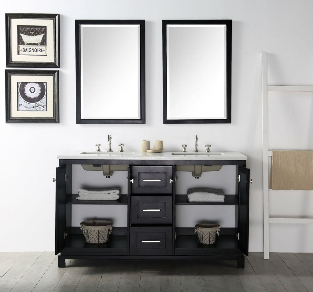 "60"" WOOD SINK VANITY WITH QUARTZ TOP-NO FAUCET IN ESPRESSO WH7460-E"