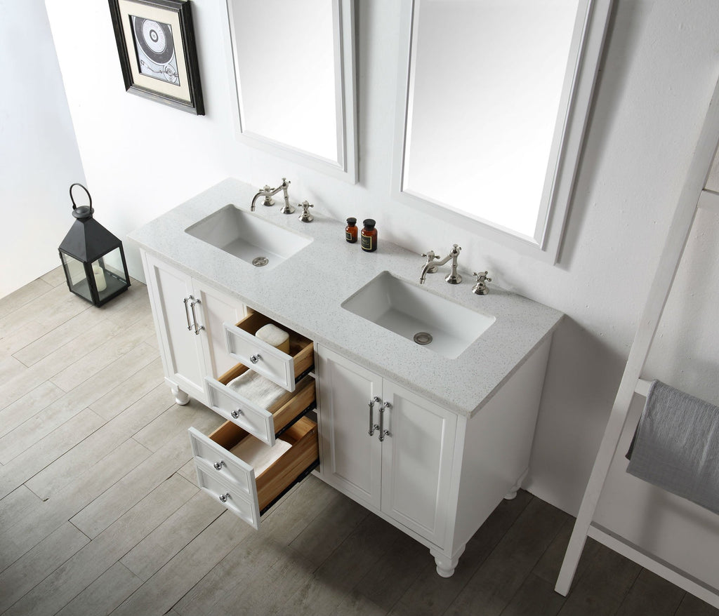 "60"" WOOD SINK VANITY WITH QUARTZ TOP-NO FAUCET IN WHITE WH7560-W"