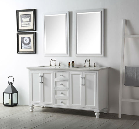 "Image of 60"" WOOD SINK VANITY WITH QUARTZ TOP-NO FAUCET IN WHITE WH7560-W"