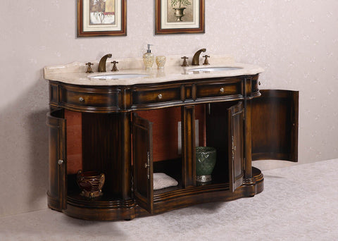 "Image of 66"" SOLID WOOD SINK VANITY WITH MARBLE-NO FAUCET AND BACKSPLASH WH3066"