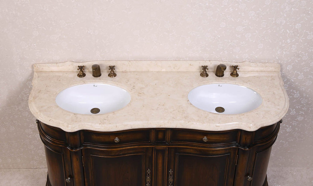 "66"" SOLID WOOD SINK VANITY WITH MARBLE-NO FAUCET AND BACKSPLASH WH3066"