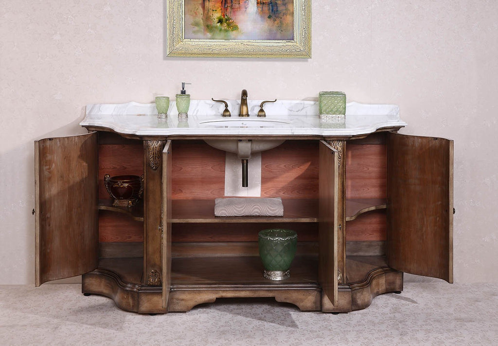 "68"" SOLID WOOD SINK VANITY WITH MARBLE TOP-NO FAUCET AND BACKSPLASH WH3468"
