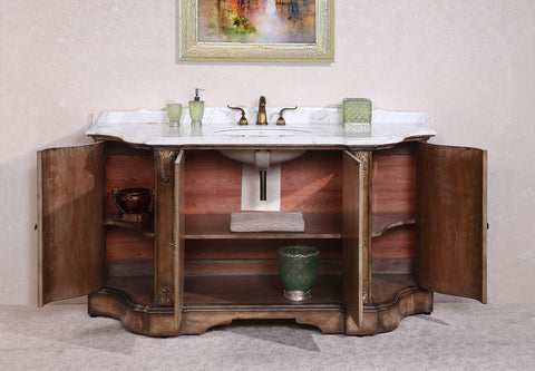 "Image of 68"" SOLID WOOD SINK VANITY WITH MARBLE TOP-NO FAUCET AND BACKSPLASH WH3468"