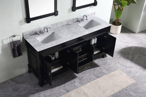 "72"" Double Bathroom Vanity GD-4072-WMRO-DW"