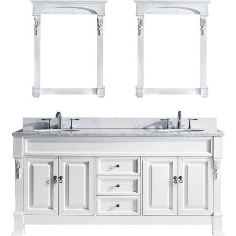 "72"" Double Bathroom Vanity GD-4072-WMRO-WH"